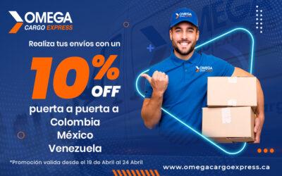 10% de descuento en tus envíos puerta a puerta a Colombia , México, Venezuela.